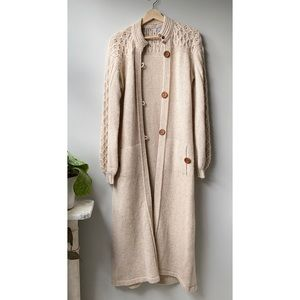 Vintage Long Wool Cardigan With Wooden Buttons